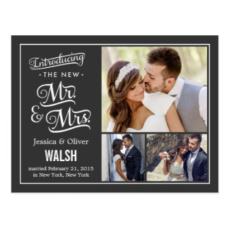 New Mr and Mrs Wedding Announcement - Charcoal Postcard