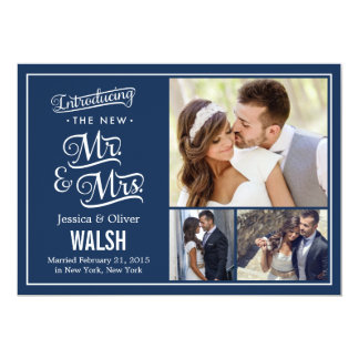 New Mr and Mrs Wedding Announcement - Navy Blue