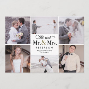 new mr and mrs wedding photo thank you card - Wedding Thank You Cards