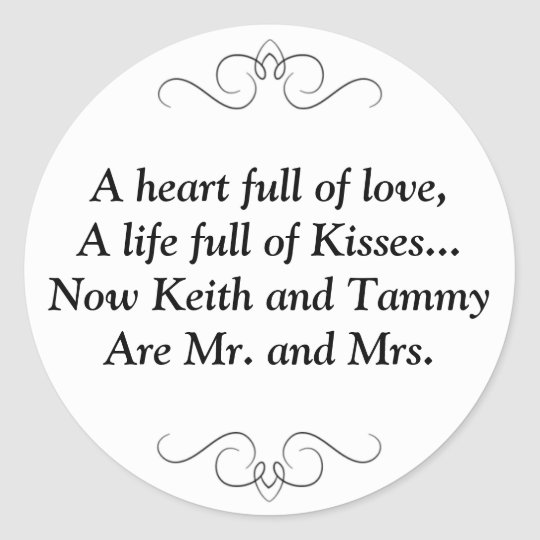New Mr And Mrs Wedding Poem Classic Round Sticker