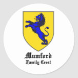 new mumford family crest coat of arms round stickers