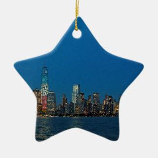 New night lights of New York City USA Ceramic Ornament