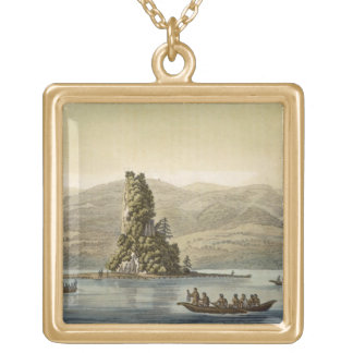 New Norfolk near Vancouver (colour engraving) Square Pendant Necklace