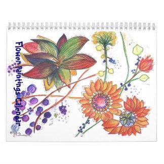 New Orange and purple Flower Paintings Calendars