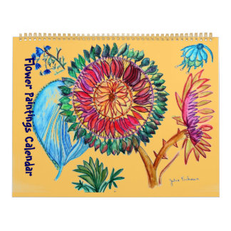 New Orange and purple Flower Paintings Calendar