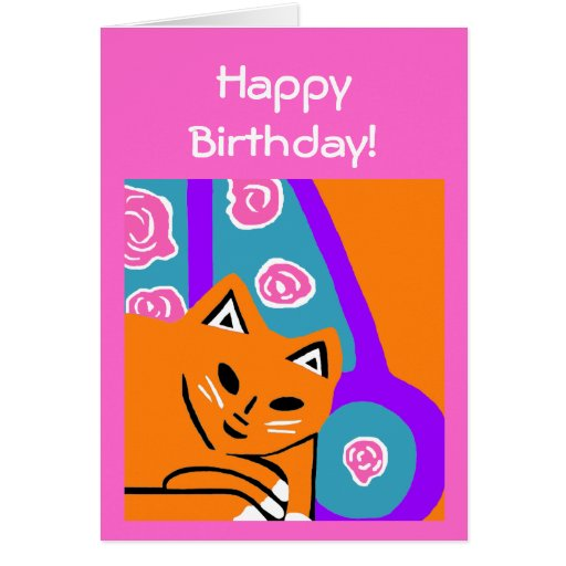 New Orange Cat Art Birthday Card Gift