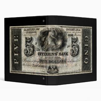 """New Orleans 1852 nota de cinco dólares Carpeta 1"""""""