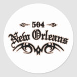 New Orleans 504 Round Stickers