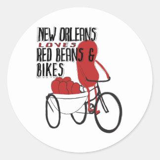 New Orleans ama habas rojas y las bicis Pegatina Redonda
