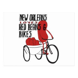 New Orleans ama habas rojas y las bicis Tarjetas Postales
