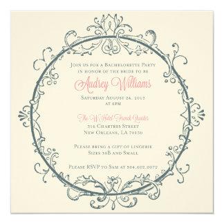 """New Orleans Bachelorette Party Invitation 5.25"""" Square Invitation Card"""