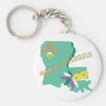 New Orleans Basic Round Button Keychain