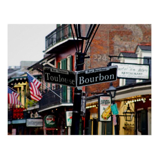 New Orleans Bourbon & Toulouse Street Poster Print