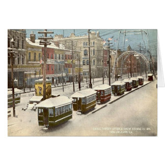 New Orleans Canal St Snow 1885 Greeting Card