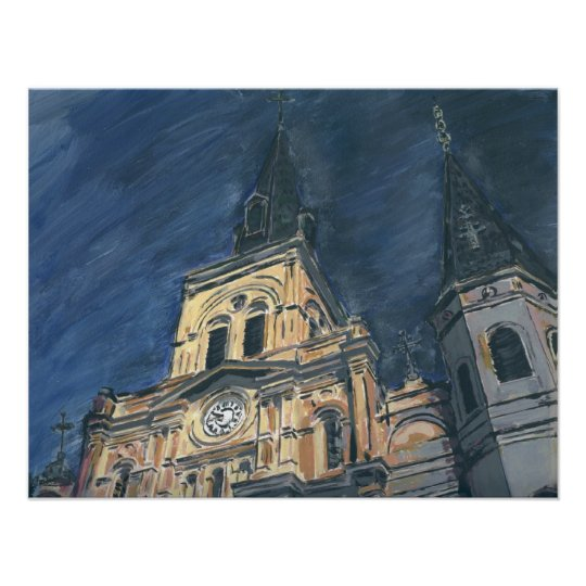 New Orleans Cathdedral at Night Poster