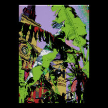New Orleans  Cathedral and Banana Trees posters