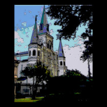 New Orleans Cathedral Blue Tones posters