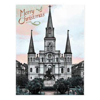 New Orleans Cathedral Christmas Postcard