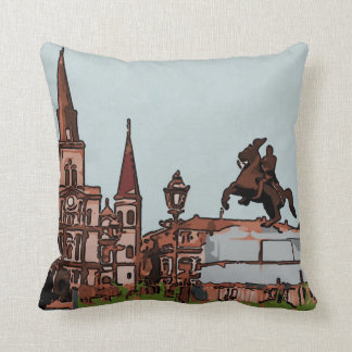 New Orleans Cathedral,  Jackson Square Throw Pillow