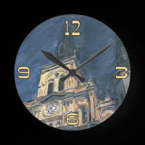 New Orleans Cathedral Night Clock Face wall clocks