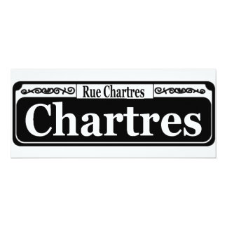 New Orleans Chartres St Sign 4x9.25 Paper Invitation Card