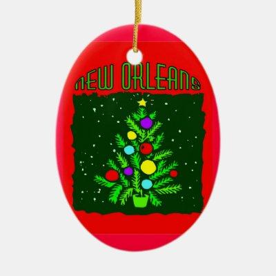 New Orleans Christmas Ornaments.New Orleans Bourbon St Beads Nola Christmas Ceramic Ornament