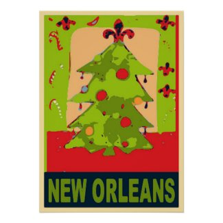 New Orleans Christmas Tree Poster