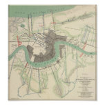 New Orleans Civil War Map 1863 Poster