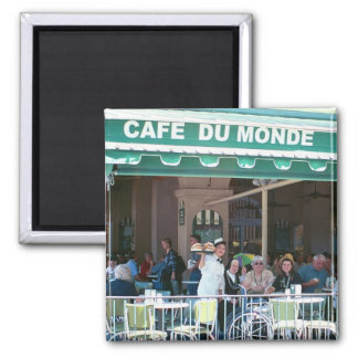New Orleans Coffee and Beignets 2 Inch Square Magnet