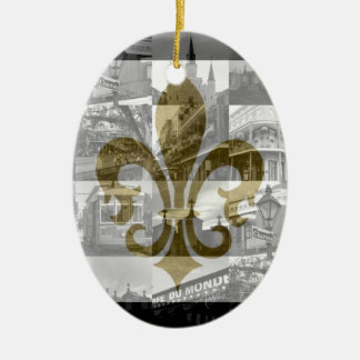 New Orleans Collage [Ornament] Double-Sided Oval Ceramic Christmas Ornament