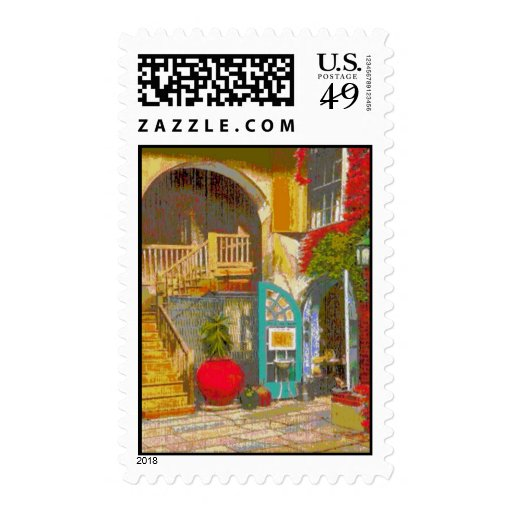New Orleans Courtyard Postage Stamps