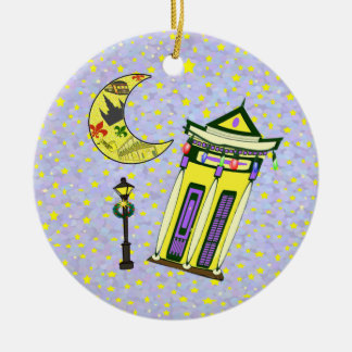 New Orleans Crescent Moon Christmas Ceramic Ornament