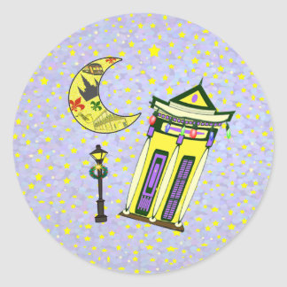 New Orleans Crescent Moon Christmas Classic Round Sticker