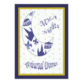 "New Orleans Crescent Moon Rehearsal Dinner Invite 5"" X 7"" Invitation Card"