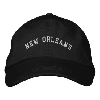 New Orleans Embroidered Basic Adjustable Cap Black Embroidered Baseball Cap