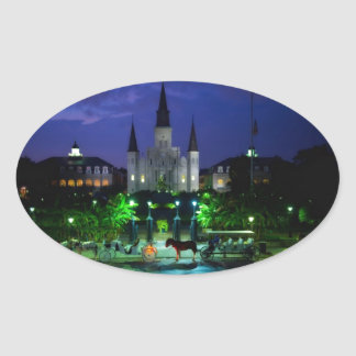 New Orleans en la noche Pegatina Ovalada