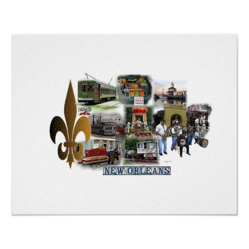 New Orleans Famous Landmarks and Scenes Print