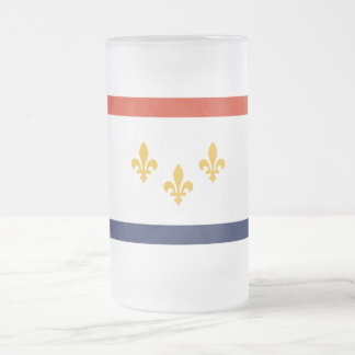 New Orleans Flag Frosted Glass Beer Mug