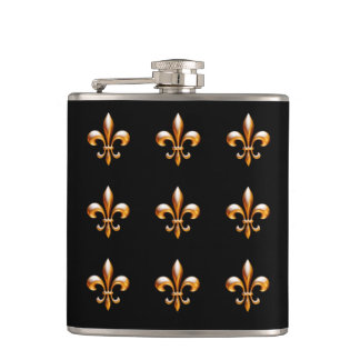New Orleans Fleur de Lis Gold and Black Flask