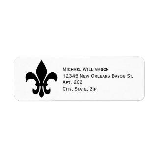 New Orleans Fleur de Lis Symbol Black Personalized Return Address Label