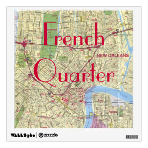 picture about French Quarter Map Printable identify Clean Orleans French Quarter Map Print Wall Decal