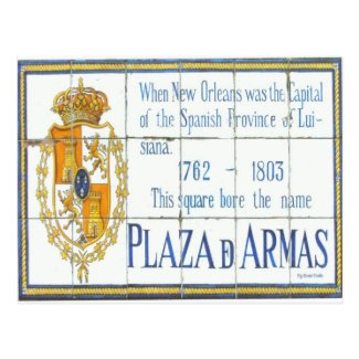 New Orleans French Quarter Plaza D'Armas Sign Postcard