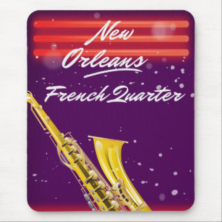 New Orleans French Quarter Saxophone travel poster Mouse Pad