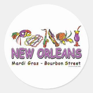 New-Orleans-Fun- Round Stickers