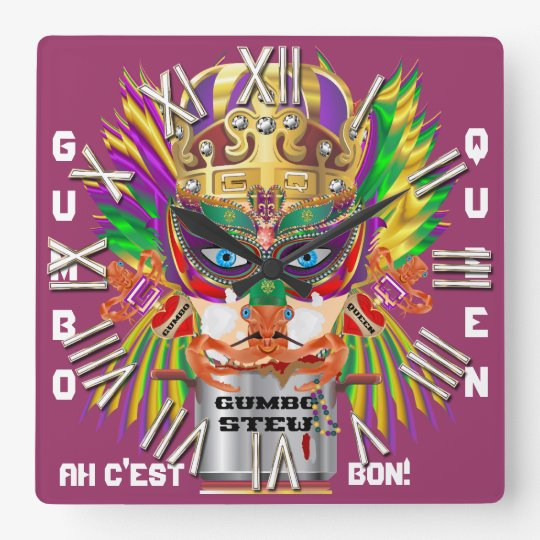 New Orleans Gumbo Queen View Hints plse Square Wall Clock