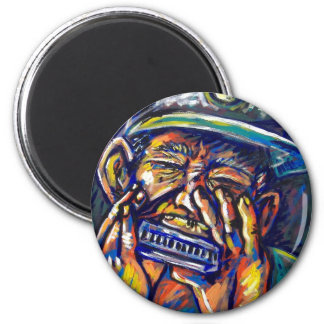 new orleans harmonica blues 2 inch round magnet