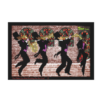 New Orleans Jazz Band Marching Past Bar Louie Stretched Canvas Prints