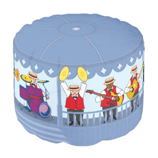 New Orleans jazz band plays on vintage bandstand, Pouf