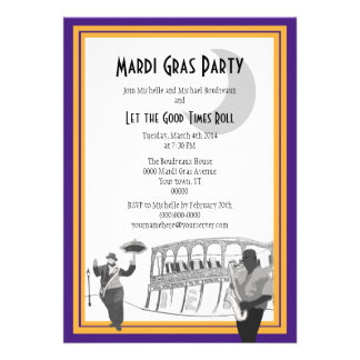 New Orleans Jazz Mardi Gras (purple) Invitations