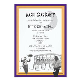 "New Orleans Jazz Mardi Gras (purple) 5"" X 7"" Invitation Card"